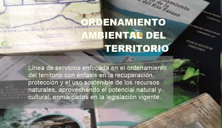Esta línea de servicio está enfocada en el ordenamiento del territorio con énfasis en la recuperación, protección y el aprovechamiento racional de los recursos naturales, aprovechando el potencial sociocultural y ambiental, enmarcado en la legislación vigente.